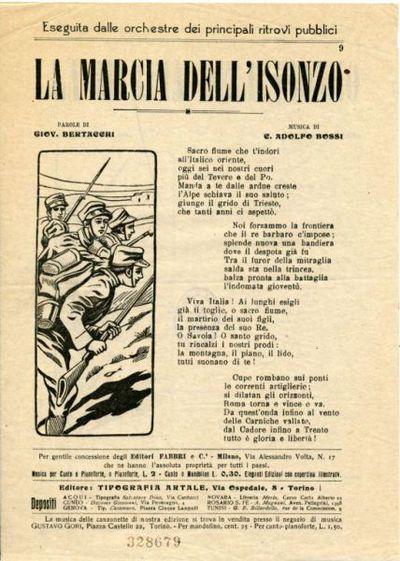 La Marcia dell'Isonzo : Eseguita dalle orchestre dei principali ritrovi pubblici / parole di Giov. Bertacchi ; musica di C. Adolfo Bossi
