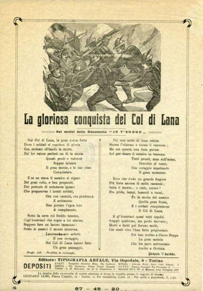 La gloriosa conquista del Col di Lana : sui motivi della canzonetta Io t'adoro / Galucio 'l barbon