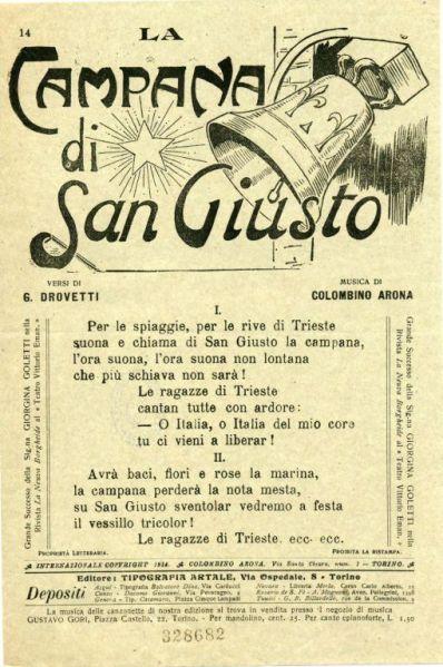 La campana di San Giusto / versi di G. Drovetti ; musica di Colombino Arona