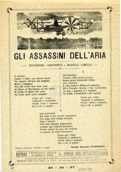 Gli assasini dell'aria : nuovissima canzonetta / di Marulli Camillo