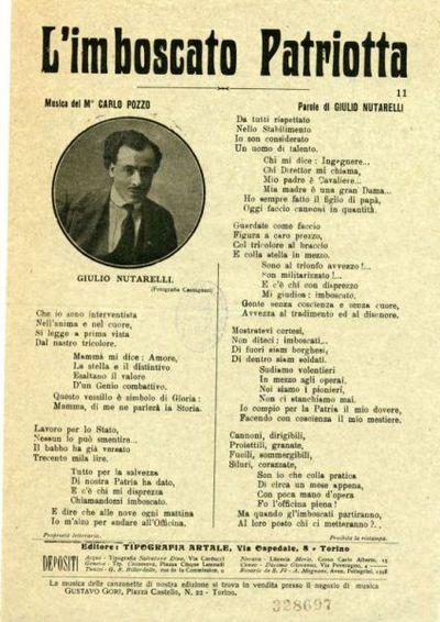 L' imboscato patriotta / musica di M. Carlo Pozzo ; parole di Giulio Nutarelli
