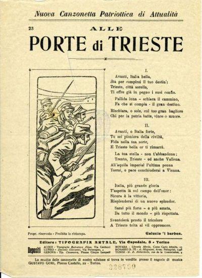 Alle porte di Trieste : nuova canzonetta patriottica di attualita