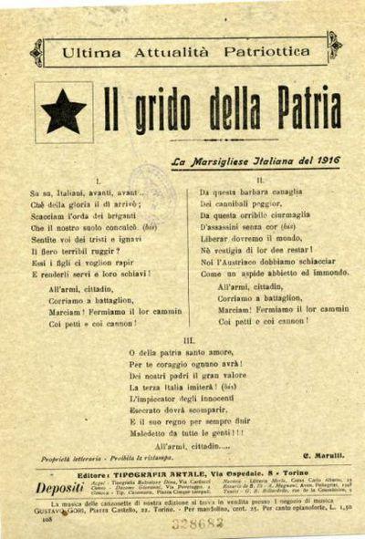 Il grido della patria : la Marsigliese italian del 1916 / C. Marulli