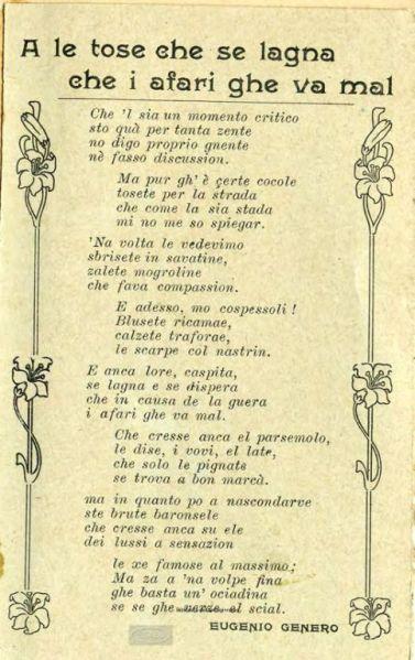A le tose che se lagna che i afari ghe va mal / Eugenio Genero