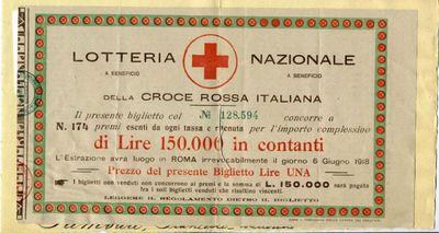 Lotteria nazionale a beneficio della Croce rossa italiana : il presente biglietto col n. 128.594 concorre a n. 174 premi ...