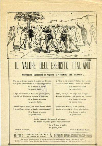 Il valore dell'esercito italiano : nuovissima canzonetta in risposta al Rombo del cannon / parole di Barbero Paolo