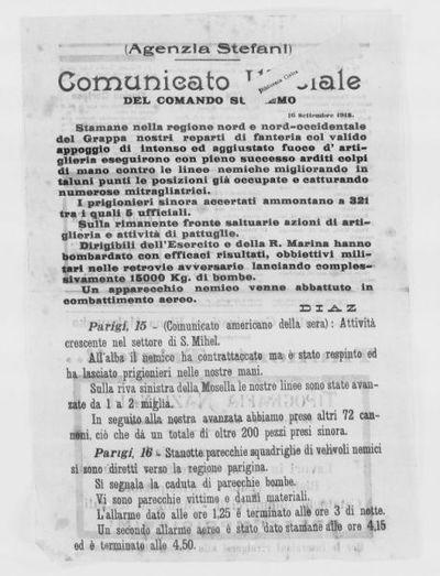 Comunicato ufficiale del Comando Supremo, 16 settembre 1918