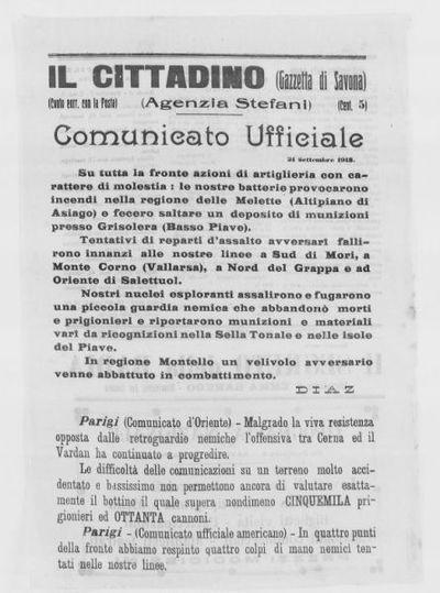 Comunicato ufficiale, 21 settembre 1918