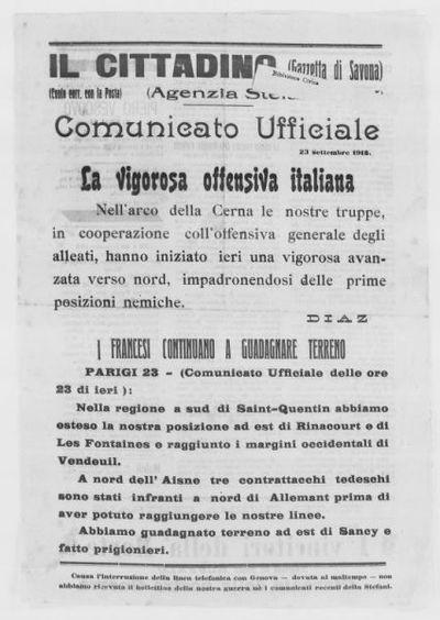 Comunicato ufficiale, 23 settembre 1918 : La vigorosa offensiva italiana