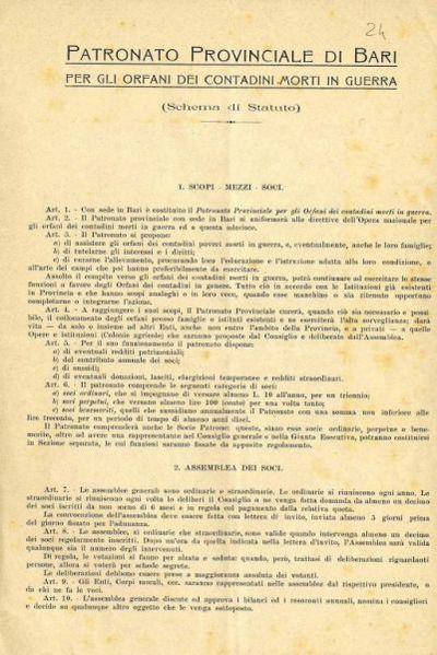 Patronato provinciale di Bari per gli orfani dei contadini morti in guerra (Schema di Statuto)