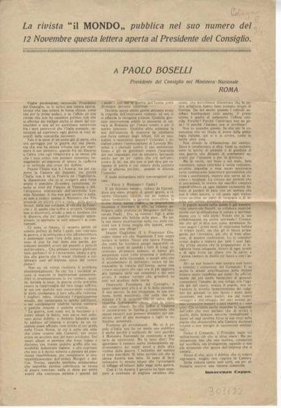 La rivista il Mondo pubblica nel suo numero del 12 novembre questa lettera aperta al Presidente del Consiglio : a Paolo Boselli... / Innocenzo Cappa