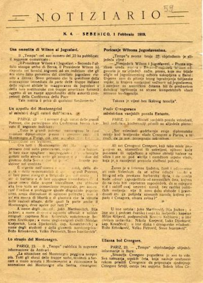 Notiziario n. 4 Sebenico, 1 febbraio 1919