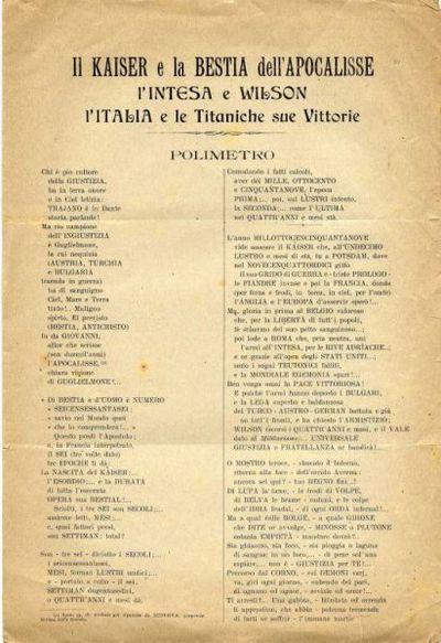 Il Kaiser e la bestia dell'apocalisse : l'Intesa e Wilson : L'Italia e le titaniche sue vittorie : polimetro / V. Trevisani Gigante