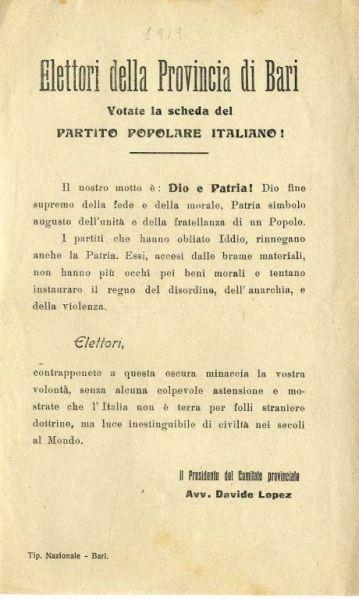 Elettori della provincia di Bari votate la scheda del partito popolare italiano!