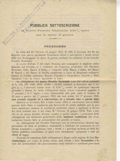 Pubblica sottoscrizione al nuovo Prestito Nazionale 4,50% netto per le spese di guerra : programma / [Banca d'Italia ... et al.]