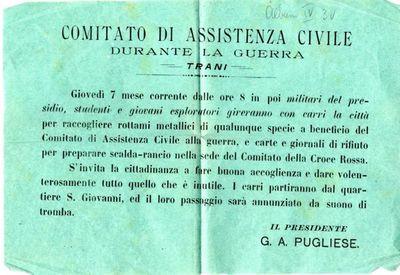 Comitato di assistenza civile durante la guerra, Trani / il presidente G. A. Pugliese