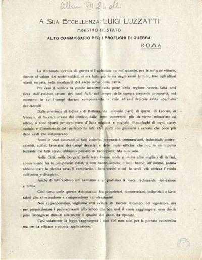 A Sua Eccellenza Luigi Luzzatti, Ministro di Stato, Alto Commissario per i profughi di guerra