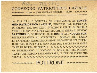 Convegno patriottico laziale, Roma, 24 febbraio 1918 / Comitato d'azione tra mutilati, invalidi e feriti di guerra