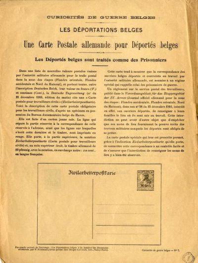 Une carte postale allemande pour déportés belges : les déportés belges sont traités comme des prisonniers