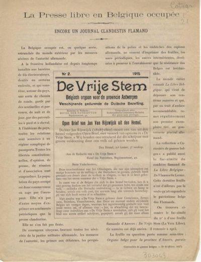 La presse libre en Belgique occupée : encore un journal clandestin flamand