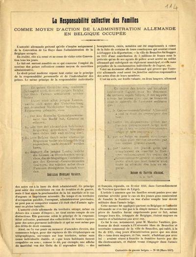 La responsabilité collective des familles comme moyen d'action de l'administration allemande en Belgique occupée
