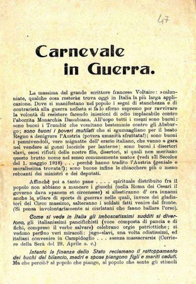 Carnevale in guerra