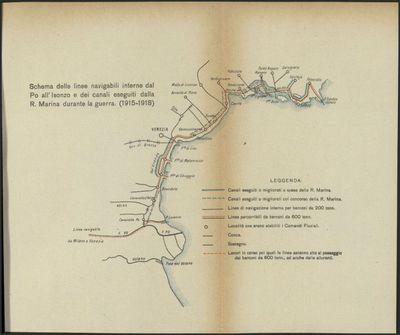 Schema delle linee navigabili interne dal Po all'Isonzo e dei canali eseguiti dalla R. Marina durante la guerra