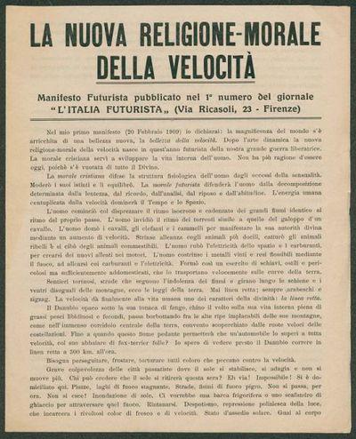 La nuova religione-morale della velocità  : manifesto futurista pubblicato nel 1. numero del giornale L'Italia futurista  / F. T. Marinetti
