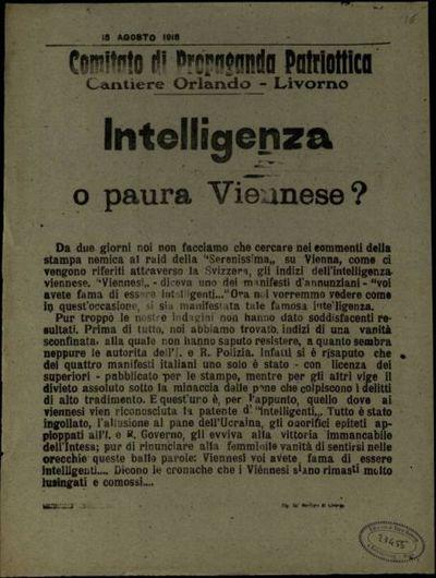 Intelligenza o paura Viennese?  / Comitato di Propaganda Patriottica Cantiere Orlando, Livorno