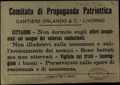 Cittadini non dormite sugli allori conquistati col sangue dei valorosi combattenti  / Comitato di propaganda patriottica cantiere Orlando & C., Livorno