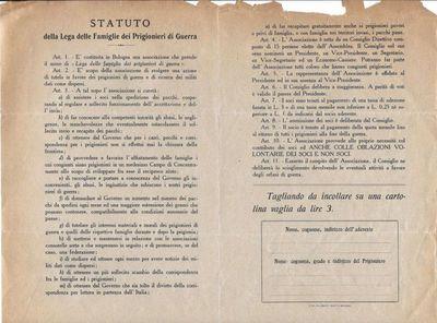 Statuto della Lega delle famiglie dei prigionieri di guerra