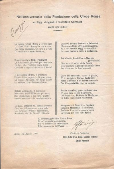Nell'anniversario della fondazione della Croce Rossa, ai sigg. dirigenti il Comitato centrale questi versi dedico