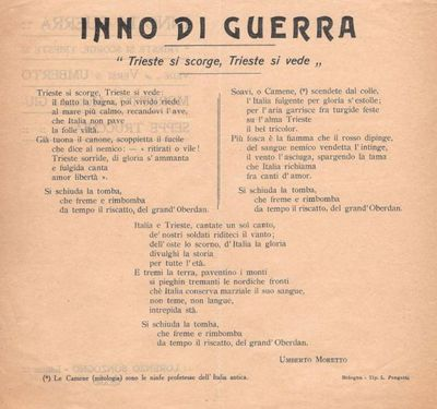 Inno di Guerra Trieste si scorge, Trieste si vede / versi di Umberto Moretto ; musica di Giuseppe Trucchia