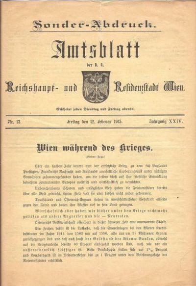 Amtsblatt der K.K. Reichshaupt und Residenzstadt Wien