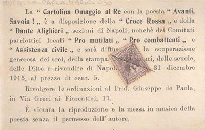 La Cartolina ommaggio al Re con la poesia Avanti, Savoia!, è a disposizione della Croce Rossa...