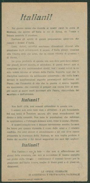 Italiani! / Le Opere federate di assistenza e propaganda nazionale