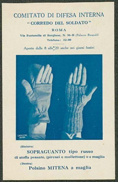 (Sinistra) Sopraguanto tipo russo di stoffa pesante, (pirenei o mollettone) o a maglia, (destra) polsino mitena a maglia