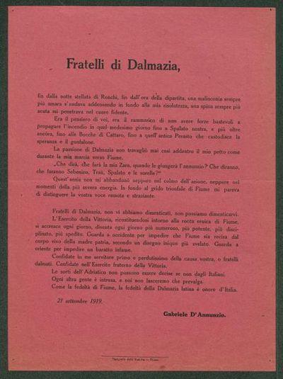 Fratelli di Dalmazia  / Gabriele D'Annunzio