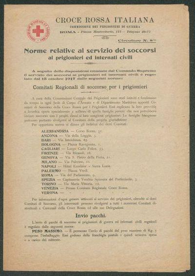 Norme relative al servizio dei soccorsi ai prigionieri ed internati civili  : circolare n. 8 bis  / Croce rossa italiana, Commissione dei prigionieri di guerra