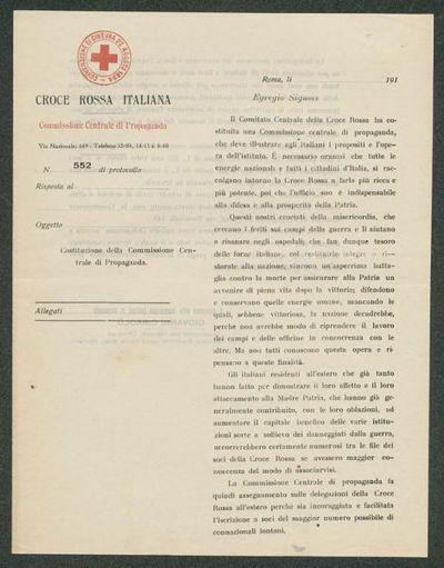 Costituzione della Commissione Centrale di Propaganda  : n. 552 di protocollo  / Croce rossa italiana, Commissione centrale di propaganda