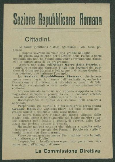 Cittadini, la banda giolittiana è stata sgominata dalla furia popolare  / Sezione Repubblicana Romana