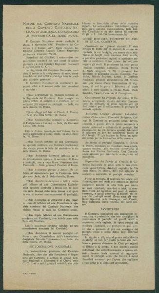 Notizie sul comitato nazionale della gioventù cattolica italiana di assistenza e di soccorso ai profughi delle terre invase