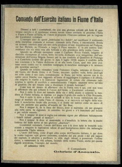 Comando dell'Esercito italiano in Fiume d'Italia  / il comandante Gabriele d'Annunzio