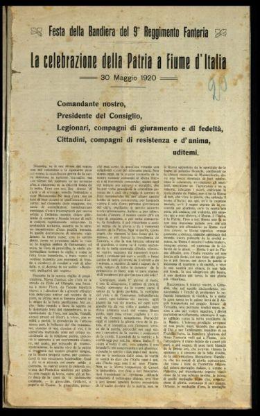 La celebrazione della Patria a Fiume d'Italia  : 30 maggio 1920  / dottor Poletti medico del battaglione Regina
