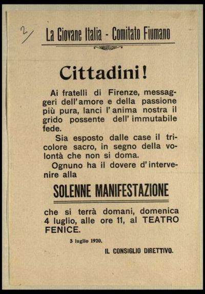Cittadini!  / La Giovane Italia Comitato fiumano