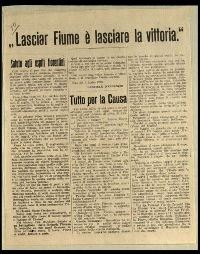 Lasciar Fiume è lasciare la vittoria  / Gabriele d'Annunzio