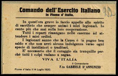 Comando dell'Esercito italiano in Fiume d'Italia  / il comandante F.to Gabriele d'Annunzio