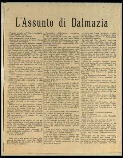 L'assunto di Dalmazia  / il comandante Gabriele d'Annunzio