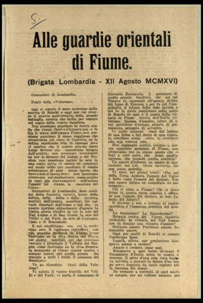 Alle guardie orientali di Fiume (Brigata Lombardia 12. agosto 1916)  / Gabriele d'Annunzio fante del 77.o Reggimento