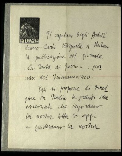 Il capitano degli Arditi Mario Carli trasporta a Milano la pubblicazione del giornale La testa di ferro, giornale del fiumanesimo ...  / il comandante Gabriele d'Annunzio